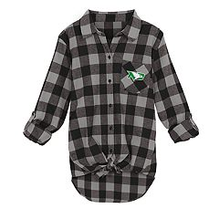 Juniors' North Dakota Fighting Hawks Spirit Week Tie-Front Flannel Shirt