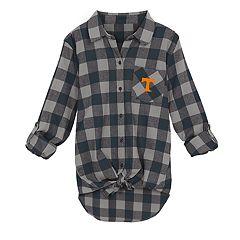 Juniors' Tennessee Volunteers Spirit Week Tie-Front Flannel Shirt