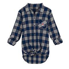 Juniors' Arizona Wildcats Spirit Week Tie-Front Flannel Shirt