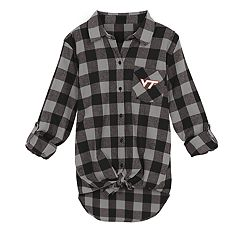 Juniors' Virginia Tech Hokies Spirit Week Tie-Front Flannel Shirt