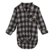 Juniors' Purdue Boilermakers Spirit Week Tie-Front Flannel Shirt