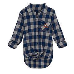 Juniors' Virginia Cavaliers Spirit Week Tie-Front Flannel Shirt