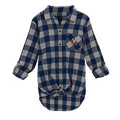 Juniors' Virginia Cavaliers Spirit Week Tie-Front Flannel Shirt