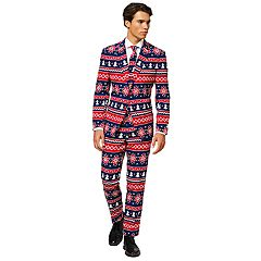Men's OppoSuits Slim-Fit Nordic Noel Novelty Suit & Tie Set