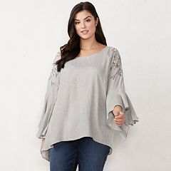 Plus Size LC Lauren Conrad Bell-Sleeve Top