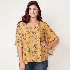 Plus Size LC Lauren Conrad Print Flounce Sleeve Top