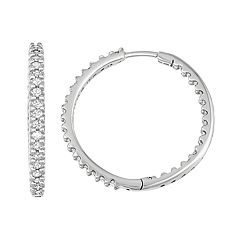 14k White Gold 1 Carat T.W. Diamond Inside-Out Hoop Earrings