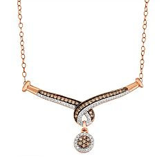 10k Rose Gold 1/2 Carat T.W. Brown & White Diamond Swirl Necklace