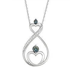 10k White Gold 1/10 Carat T.W. Blue & White Diamond Heart Infinity Motherly Love Pendant