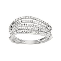 10k White Gold 1/2 Carat T.W. Diamond Multi Row Wave Ring