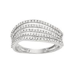 10k White Gold 1/2 Carat T.W. Diamond Multi Row Wave Ring