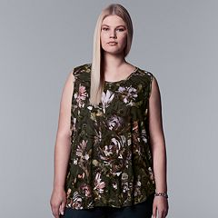 Plus Size Simply Vera Vera Wang Watercolor Tulip Hem Tank