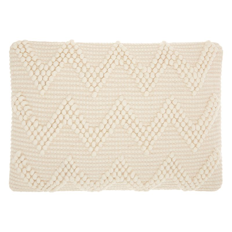 Mina Victory Life Styles Large Chevron I Oblong Throw Pillow. White. 14X20