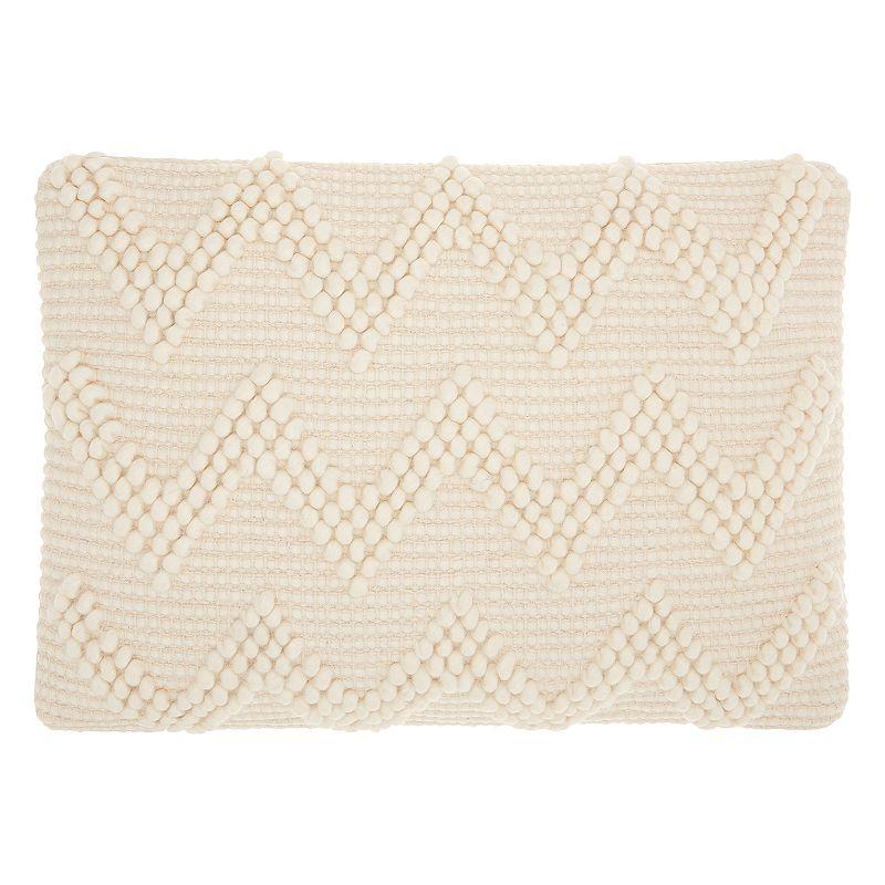 Mina Victory Life Styles Large Chevron I Oblong Throw Pillow. White. 14X20