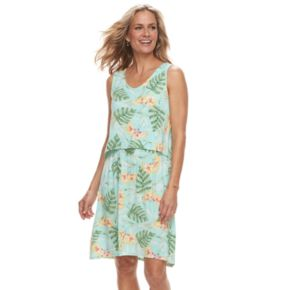 Women's Caribbean Joe Tropical Print Popover Dress