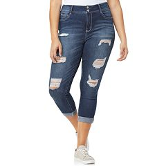 Juniors' Plus Size Wallflower Luscious Curvy Ripped Ankle Jeans