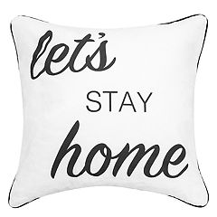 Script Sentiments ''Let's Stay Home'' Feather Fill Throw Pillow
