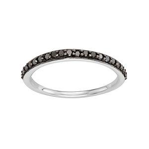 14k White Gold 1/4 Carat T.W. Black Diamond Stack Ring