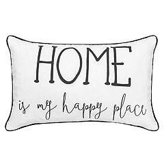 Script Sentiments ''Home is My Happy Place'' Feather Fill Throw Pillow