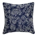 Floral Embroidered Feather Fill Throw Pillow