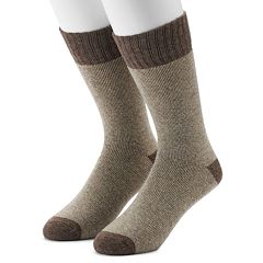 Men's Croft & Barrow® 2-Pack Wool Blend Extended Size Boot Crew Socks