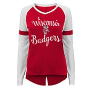 Juniors' Wisconsin Badgers Split Back Raglan Tee