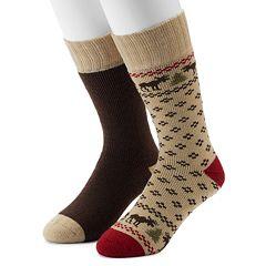 Men's Croft & Barrow® 2-Pack Patterned Extended Size Crew Socks