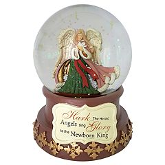 Wind-Up Musical 'Hark The Herald Angels' Christmas Snow Globe