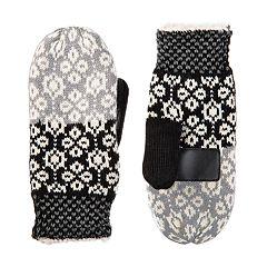 Women's isotoner SmartDRI Knit Colorblock Snowflake Mittens