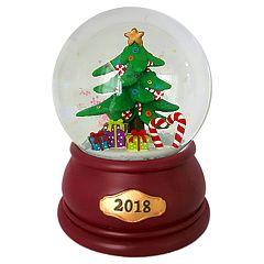 Wind-Up Musical Christmas Tree '2018' Christmas Snow Globe