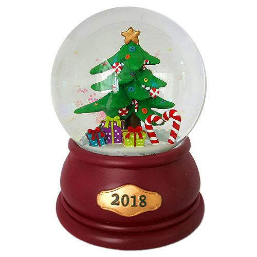"Snowing And Musical Christmas Tree: Wind-Up Musical Christmas Tree ""2018"" Christmas Snow Globe"