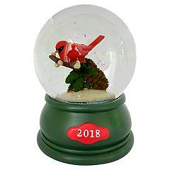 Wind-Up Musical Cardinal '2018' Christmas Snow Globe