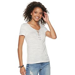Juniors' SO® Lace-Up Tee