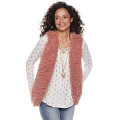 Juniors' Neon Soul Faux-Fur Vest Set