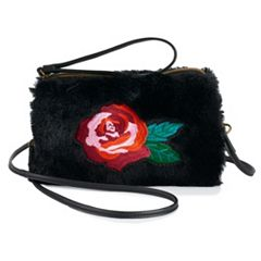 T-Shirt & Jeans Floral Embroidered Faux-Fur Wristlet