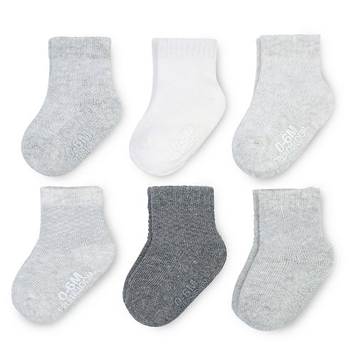 Baby Fruit of the Loom 6-pack Gray Crew Socks