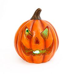 Gerson Spooky Smoke Effect Light-Up Pumpkin Halloween Table Decor