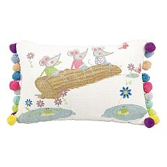 Mina Victory Life Styles Three Mouse on Log Oblong Throw Pillow