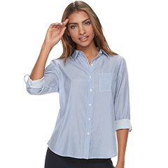 Petite Apt. 9® Roll-Tab Button-Down Shirt
