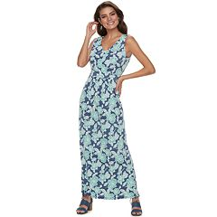Women's Nina Leonard Gathered Floral Maxi Dress