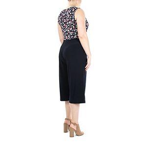 Women's Nina Leonard Faux-Wrap Wide-Leg Capri Jumpsuit