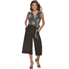 Women's Nina Leonard Print Wide-Leg Capri Jumpsuit