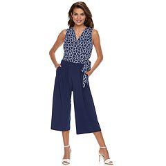 9dd8acdf64cc Women s Nina Leonard Print Wide-Leg Capri Jumpsuit