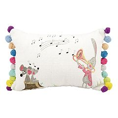 Mina Victory Life Styles Bunny with Trumpet Oblong Throw Pillow
