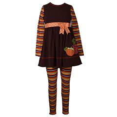 Girls 7-16 Bonnie Jean Pumpkin Patch Dress & Striped Legging Set