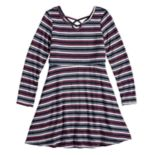 Girls 7-16 Three Pink Hearts Strappy Striped Dress