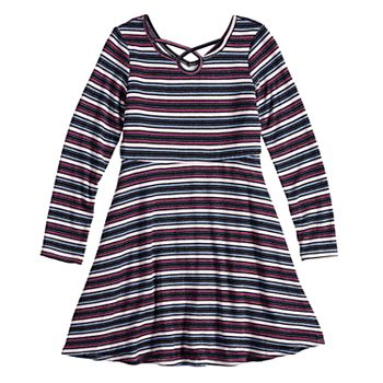 Girls 7-16 Three Pink Hearts Strappy Striped Dress