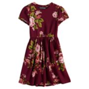 Girls 7-16 Three Pink Hearts Floral Short Sleeve Dress