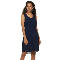 Women's Nina Leonard Accordion-Pleat Chiffon Dress