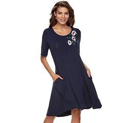Women's Nina Leonard Floral Embroidery Swing Dress